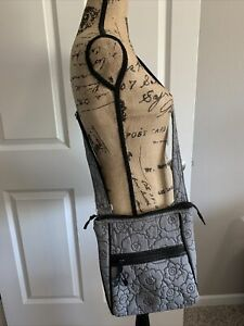 thirty-one cross body gray quilted bag/purse small