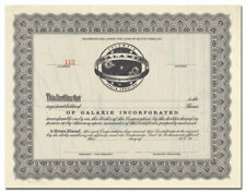 Galaxie Incorporated Stock Certificate (South Carolina, Space Vignette)