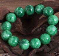 12MM 100% Natural Green JADE Jadeite Round Gemstone Beads Bangle Bracelet