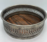"""Vintage The Sheffield Silver Co Round Tray Wood Grain Genuine Formica 5 1/4"""" D"""