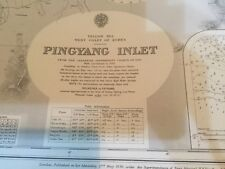Genuine 60s Vintage Nautical Chart Pingyang Inlet West Coast Korea