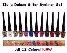 Glitter Eyeliners!  12 Colors Italia Deluxe Glitter Eyeliner Set *US SELLER*