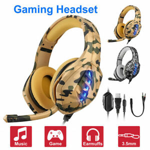 Camouflage USB Wired Gaming Headset 3.5mm Deep Bass Stereo Surround Headphone