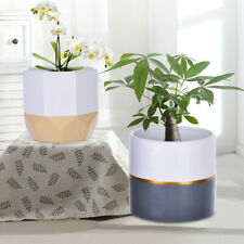 2Pc White Ceramic Flower Pot Garden Planters Indoor Plant Containers Home Decor