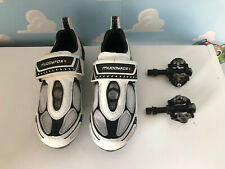 White Black TRI 100 Road Cycling Shoes Size Uk 3 Euro 35.5 Cleats And Pedals