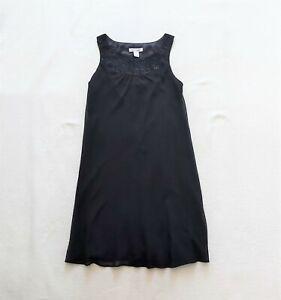White House Black Market black chiffon sleeveless dress Beaded US 2 UK 6 £140