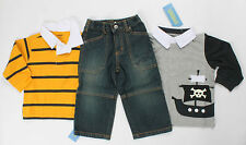 NWT boys size 18 24 mos GYMBOREE AHOY MATEY 2 Rugby Shirts & Pirate Jeans - 3 pc