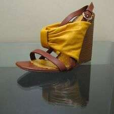 Moschino Cheap and Chic Yellow Leather and Wood Wedges