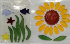 Gel Window Cling Stickers Sunflowers and Fish Under the Sea -  NIP