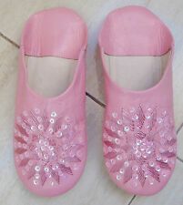 MOROCCAN PINK LEATHER SEQUINED SLIPPERS size 6/39