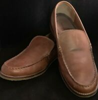MICHAEL SHANNON Mens Leather Loafers Slip On Shoes Size 9 Tan Brown Memory Foam