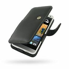 Pdair Hand Made Leather Book Type Case Carry Cover for HTC One Mini - Black