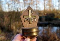 altes Weihwasserbecken Messing Holz Glas Kirche Kruzifix edles Sammlerstück