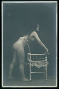 French nude woman long hair brunette bending original early 1900s photo postcard