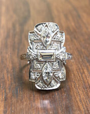 Antique Art Deco 1930s Platinum 1.41ctw Marquise & Emerald Diamond Filigree Ring