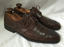 Mezlan Men's 10M Rustic Brown Leather Oxfords Shoes Brogue Perforated Snip Toe