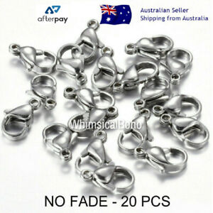 NO FADE 20 Pcs 10x6mm 304 Stainless Steel Silver Lobster Clasps Polished DIY
