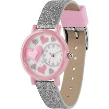 Tikkers Girls Love Hearts Glitter Strap 3D Analogue Dial Display Watch Gift Set
