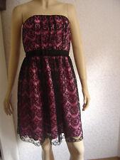 Comma Abendkleid Spitzenkleid Bandeaukleid Partykleid  schwarz/rosa Gr.36 NEU