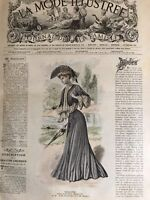 French MODE ILLUSTREE SEWING PATTERN May 15,1904  ROBE EN ETAMINE, BAGS