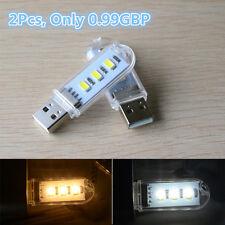 2Pcs Portable 3 LED Lamp Bright Mini USB Night Light  for PC Laptop Reading