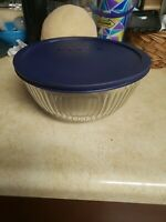 Pyrex Clear Sculptured 10 Cup Bowl 7403-S With Original Blue Cover 7403-PC