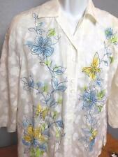 Vintage City Blues Shirt Women's Sheer Pattern Size M Cotton Blend