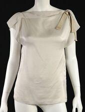 LANVIN Ete 2010 Dove Gray Draped Silk Shoulder Bow Sleeveless Blouse 38