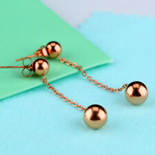 Cute Tassels Smooth Ball Rose Gold GP Surgical Stainless Steel Stud Earrings