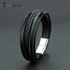 Men's Stainless Steel Leather Buckle Bracelet Bangle Cuff Vintage Wristband Rope