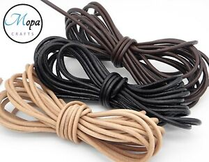 Round Leather Cord 100% Real 1, 2, 3mm for Jewellery Craft