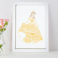Personalised Word Art Belle Beauty Beast Princess Picture Print Gift Frame