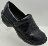 Born BOC Womens 8.5/40 Blue Slip On Croc Print Wedge Heel Clog Loafers Chunky