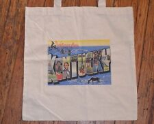 Rare GREETINGS FROM KENTUCKY Canvas Book Tote Bag VTG Retro POST CARD State MCM