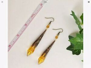 """3.5"""" Faceted Amber Crystal Prism & Antique Copper Filigree Earrings, Handcrafted"""