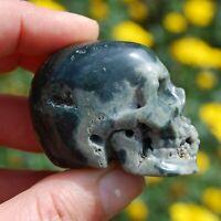 """2"""" Ocean Jasper Carved Crystal Skull Realistic Gemstone Carving"""