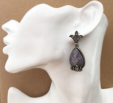 Gorgeous Grey Teardrop Diamante Drop Earrings in Antiqued Silver Tone *NEW*