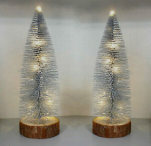 2x Silver Pre Lit Glittering Mini Christmas Tree Table Top Battery Operated LED