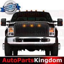 08-10 Ford Super Duty Raptor Style Matte Black Mesh Grille+Shell+Amber LED light