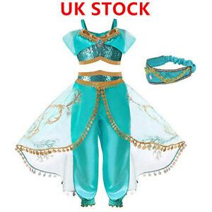 Girls Arabian Princess Kids Fancy Dress Jasmine Child Fairytale Costume Headband