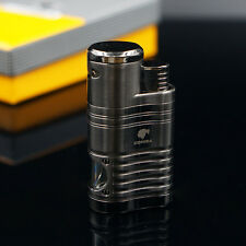 COHIBA Metal 4 TORCH JET FLAME CIGAR CIGARETTE LIGHTER With PUNCH Black Chrome