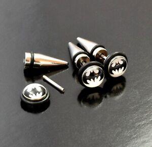 Earring Fake Spike Taper Batman Superhero Surgical Steel Tunnel Bat Ear Plug 20g