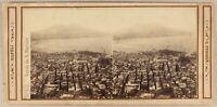 Italia Napoli Panorama c1865 Foto Sommer Stereo Vintage Albumina
