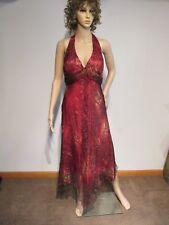 CACHE Halter Top Handkerchief Hem Overlay Backless Dress Sz 8? Zipper Beads EUC