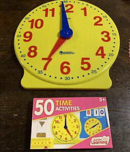 Learning Resources Clock with JUNIOR LEARNING Time Activity Cards 50 Teaching