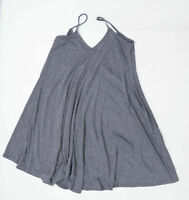 Boohoo Womens Size 8 Cotton Blend Strappy Grey Skater Dress (Regular)