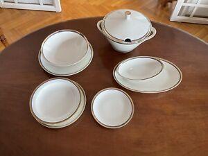 Servizio piatti di porcellana Bavaria bordo oro e blu