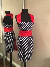 Rockabily Navy Red Spotty Dress Pencil Bow 16 Sexy, Fitted, Vintage, 50's Pin Up