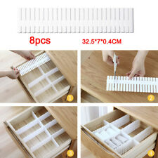 8pc Adjustable Drawer Dividers Organiser Socks Make Up Plastic Closet Separators