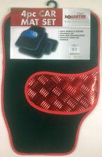 4pc red trim car mats checker insert metal look mat set   ROADSTER NEW